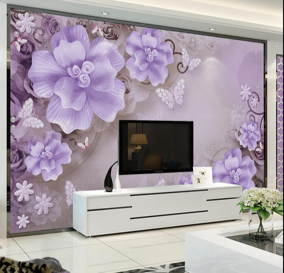 Purple Flower Wall Mural Photo Wall Paper Rolls For Living