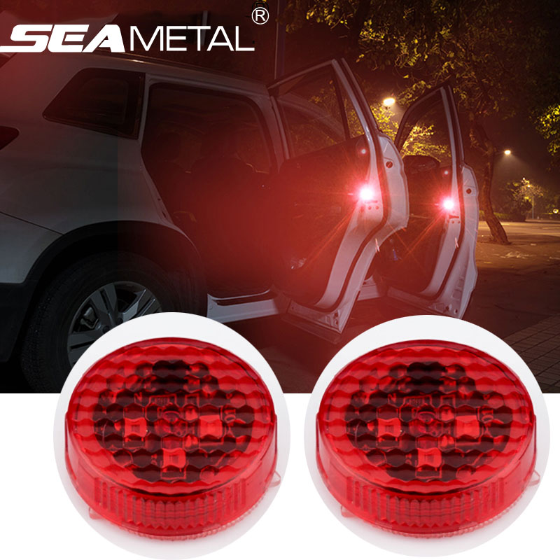 4pcs Car Door Lights LED Warning Anti Collision Magnetic Flashing Lamp Auto Strobe Traffic Light Safety Signal Stickers on Cars 8led bright led solar powered traffic warning light barricade lights strobe tower warning lights road cone