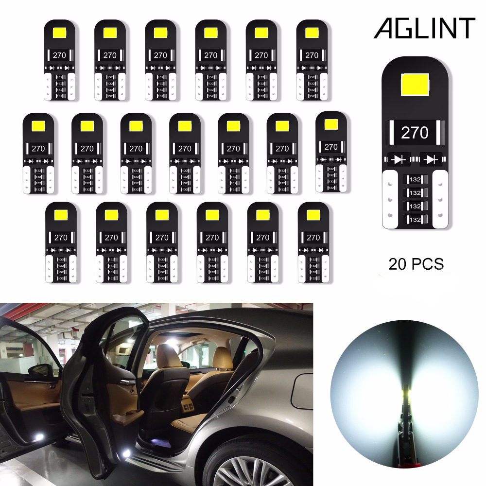 AGLINT 20PCS T10 LED Bulb CANBUS Error Free No Polarity T10 W5W 194 168 2825 Car Interior Light Dome Map Courtesy License Plate