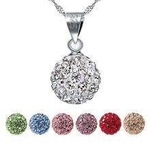 925 Sterling Silver Full Rhinestone Crystal Ball Pendants Necklace 7 Colors Fashion Women Shambhala Jewelry For Girls Best Gift