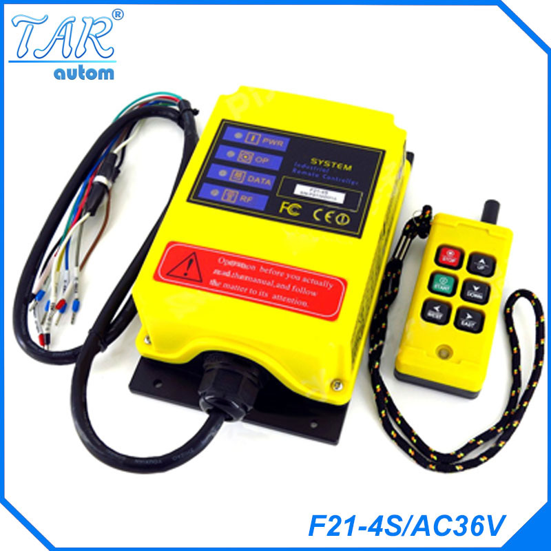 все цены на F21 4S AC36V 6 Channels Control Hoist Crane Radio Remote Control System Industrial Remote Control battery онлайн