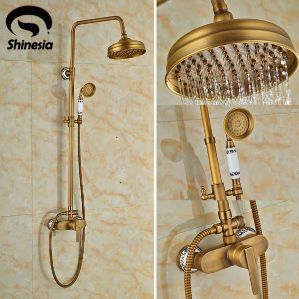 ヾノluxury Antique Brass 8 Round Rain Shower Head Valve Mixer