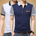 2016 Turndown collar Men Polo Shirt Patchwork Fit Polos Striped Short Sleeve Polo Homme  Casual Garment MQ131