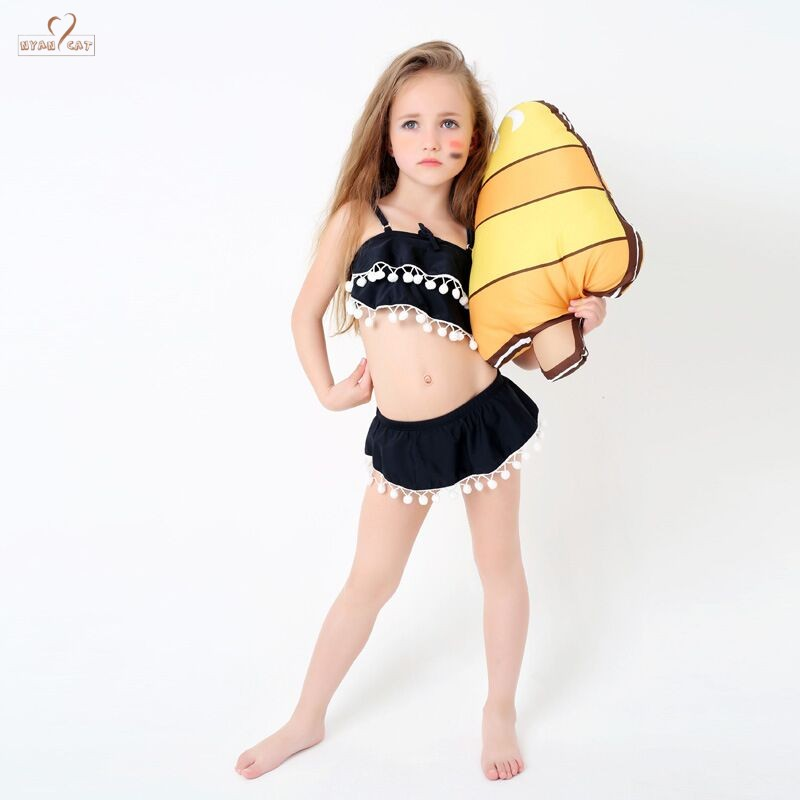 b0f4e5042fb 2019 Swimsuit Kids Girl Swim pom poms child Bikini Girl Bikini Swimwear Two  Pieces Swimsuits Separate Bathing Suit Beach Wear