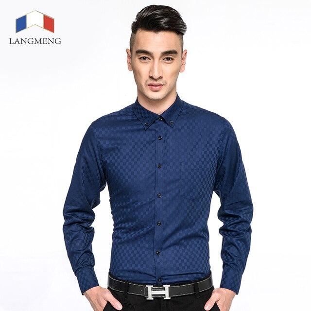 Новые Стили 2015 С Длинным Рукавом Повседневная Рубашка Сорочка Homme Сплошной цвет Рубашки Мужчины Мужская Социальный Slim Fit Рубашки Платья Camisa Masculina