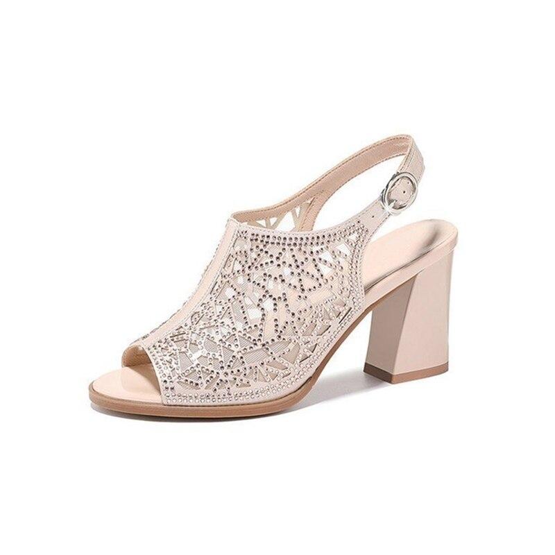 Femmes chaussures d'été Comforty plate-forme sandales Sexy maille Ventilation Piscine bouche chaussures élégant couleur Pure sandales à talons hauts - 2