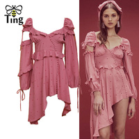 Tingfly 2019 Newest Asymmetrical Ruffles Dress Sexy Backless Tie up Button Decoration Short Party Dresses For Summer Holiday