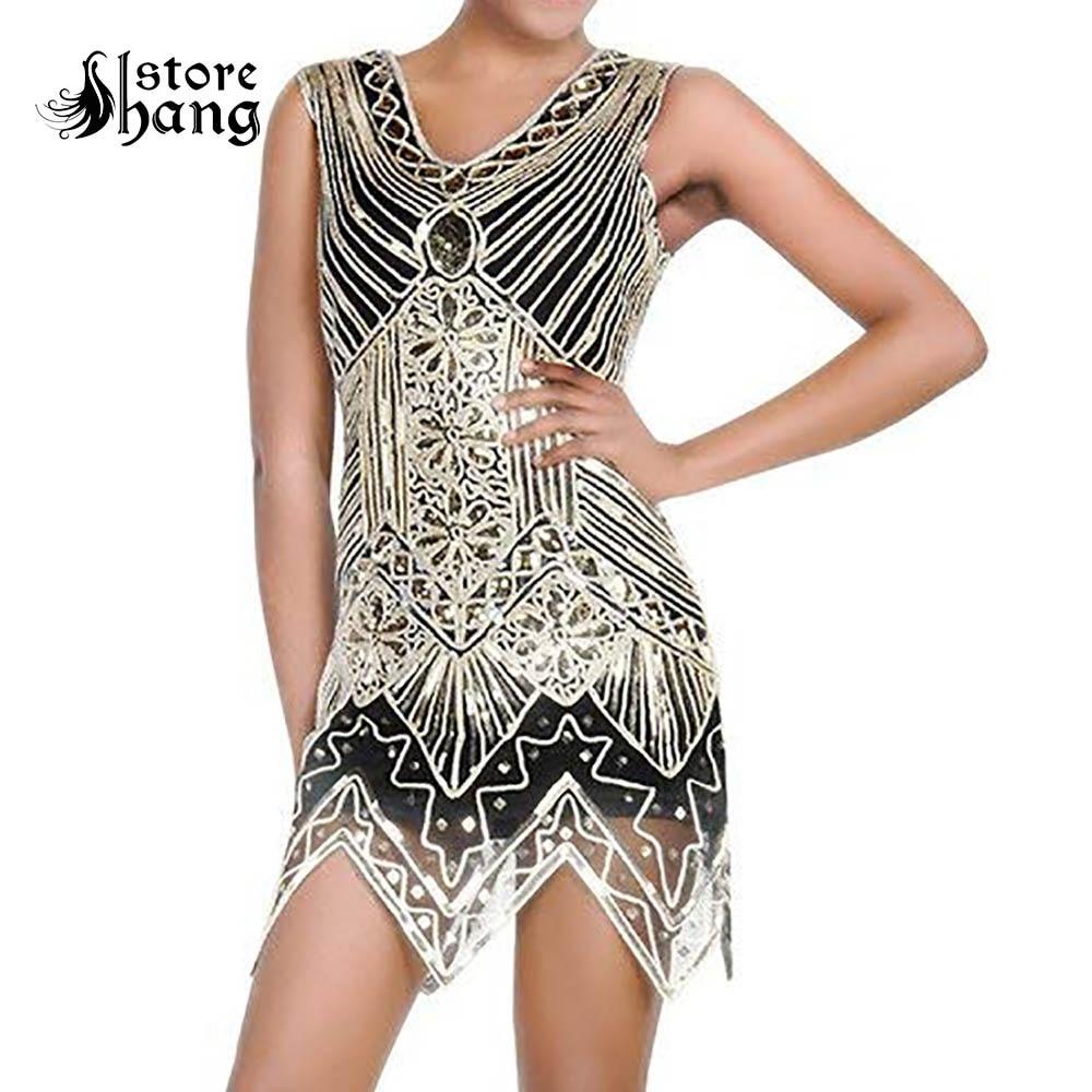 c3c3d331870dc US $30.09 30% OFF|Women's Vintage Flapper Girl Dress 1920s V Neck  Charleston Beaded Fringed Great Gatsby Costume Sexy Sequins Tassels Mini  Dress on ...