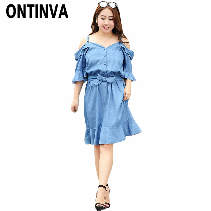 Blue Jean Loose Cold Shoulder Dress for Girl Plus Size XXL 3XL 4XL ...