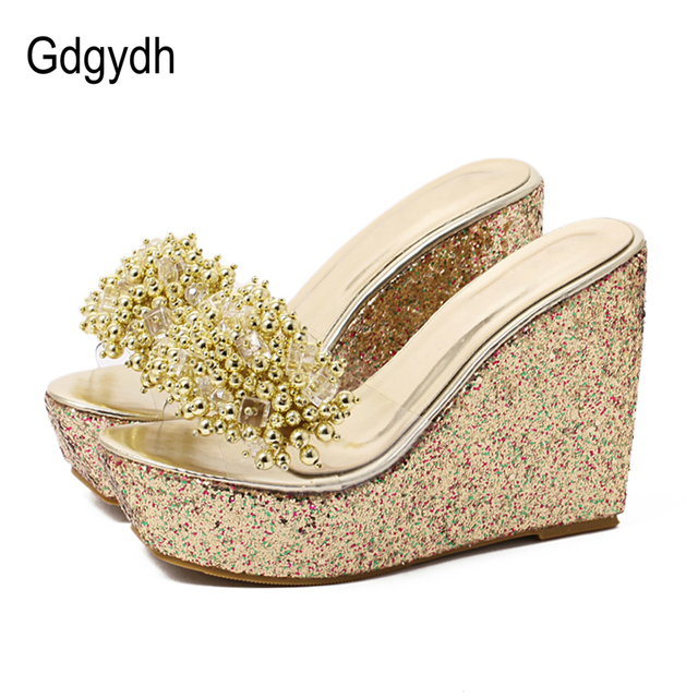 1f00ae0f346 Gdgydh Rhinestone Wedges Sandals Women 2019 Summer Sexy Trifle Slides  Casual Beading Open Toe Female Sandals