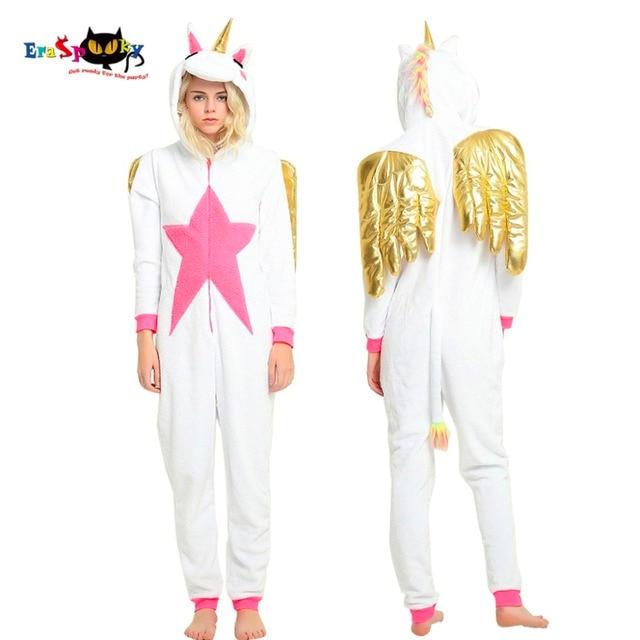 e0e36b08d3 Eraspooky 2018 Unicorn Pajama Onesie Women Gold Wing Cosplay Animal  Kigurumi Hood Party Sleepwear Adult Winter Unicornio Flannel