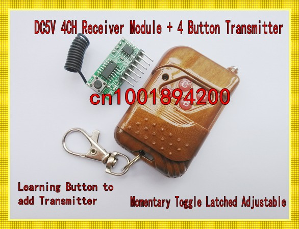 DC5V Receiver Module 4Channel Learning Code Momentary Toggle Latched Adjustable RF Wireless Remote 4CH Transmitter 315