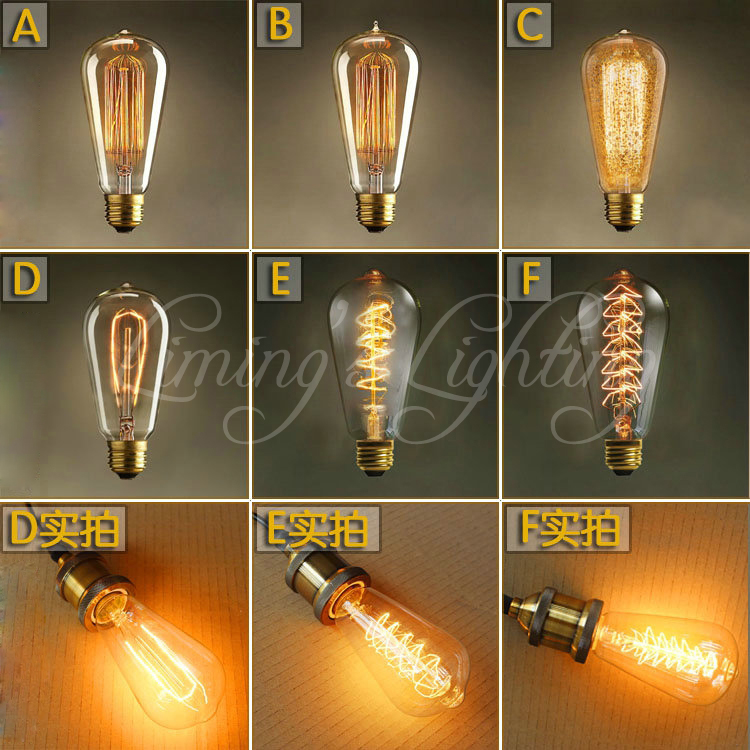 Vintage Edison Bulbs E27 Incandescent Bulbs ST64 Filament Bulb Squirrel-cage Carbon Bulb Retro Edison Light For Pendant Lamp