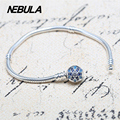 Genuine 925 Sterling Silver Charms Silver Snowflake Clip Bracelet Snake Chain Fit European Brand Original Jewelry