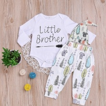 Newborn Infant Toddler Baby Boys Cute Outfit Little Brother Romper+ Long Pants+Hat 3Pcs Clothes Set