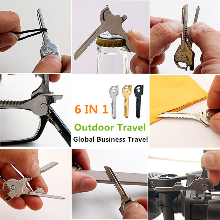 6 In 1 Useful Multifunction Knife Practical Utili Key Outdoor Screwdriver Bottle Opener Keychain Camping EDC Tools in Screwdriver from Tools