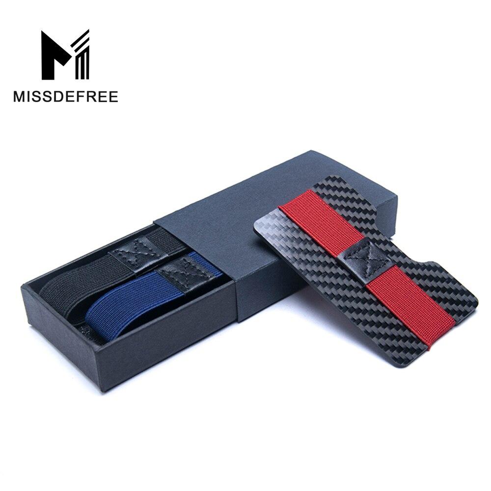 Hiilikuitu RFID: n laskujen estäminen Raha-Clip Luottokortin suojaus Pidätin Slim Lompakot miehille Minimalistinen Yksinkertainen Pieni kukkaro