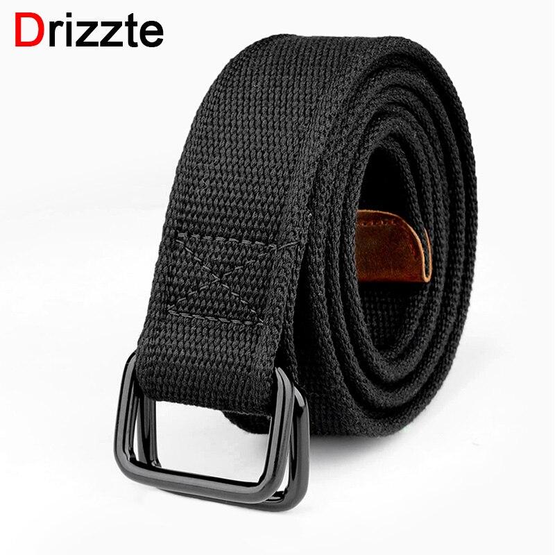Drizzte Plus Size 100-190cm Big Tall Mens Double Ring Buckle Cotton Canvas Cloth Fabric Belts Web Belt Black Waist Jeans Belt