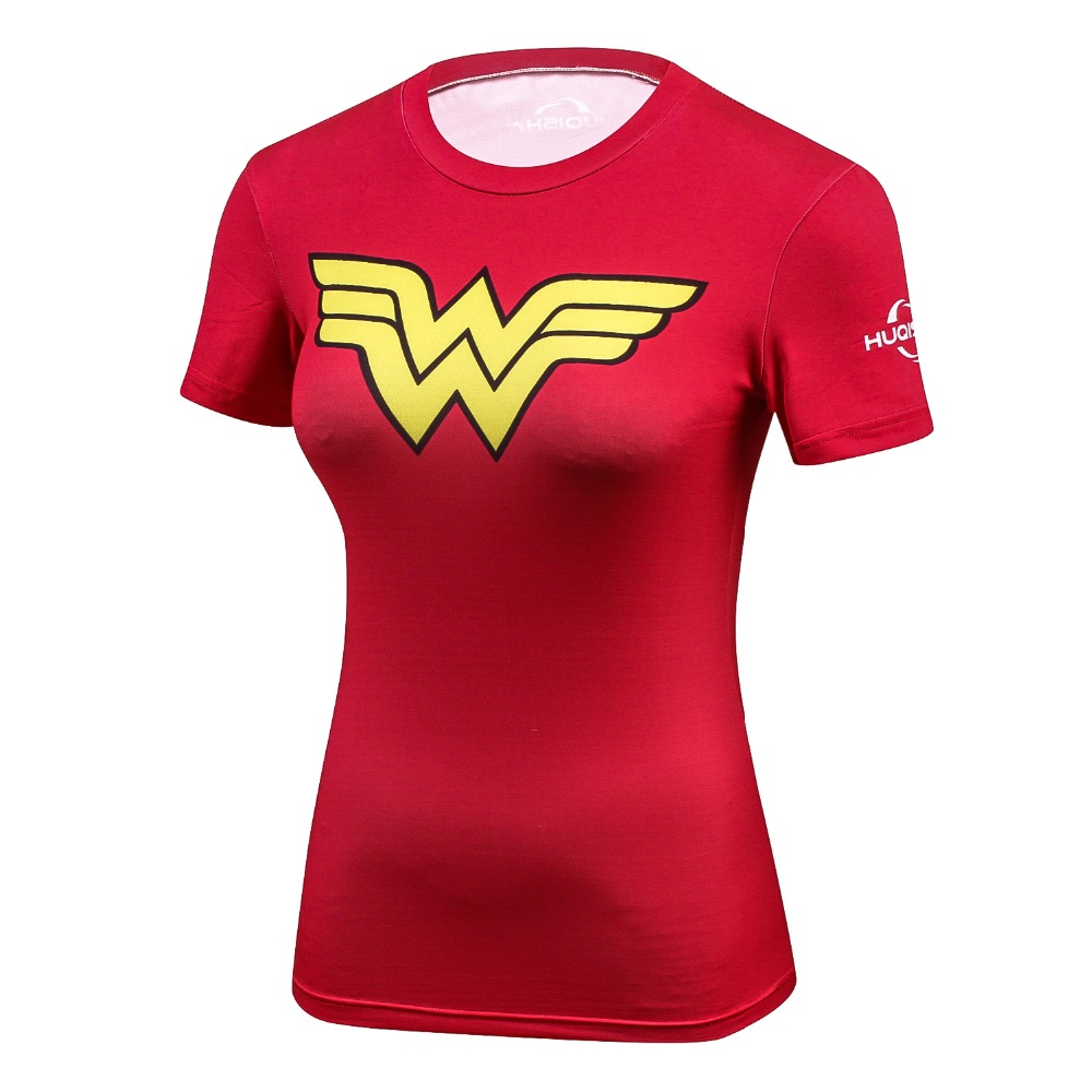 Ladies Comics Marvel Superman Captain America Wonder Women's Compression Shirts Compression T Shirt Female Fitness Tights Shirts