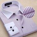 Nueva moda 2016 hombres clásicos a rayas camisa de vestir de manga larga gira el Collar abajo Regular slim Fit camisas diseñador ropa CY59c