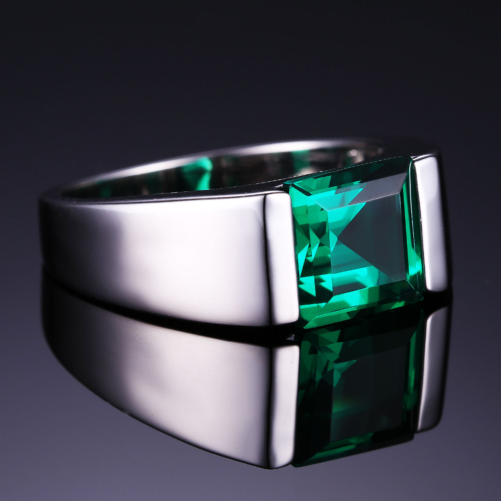 Famous JewelryPalace Nano Russian Green Created Emerald Ring For Men  PQ29