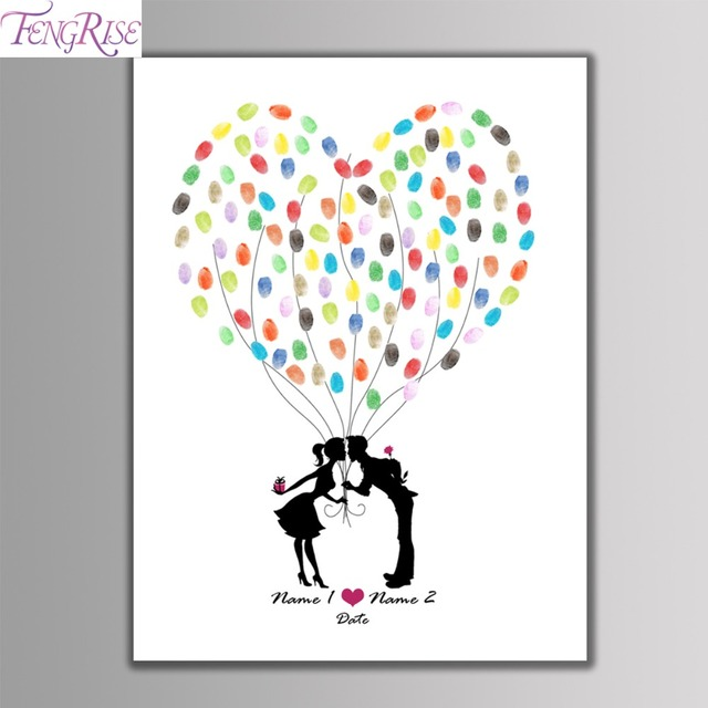 FENGRISE Customized Fingerprint Tree Wedding Guest Book Tree Painting  Wedding Souvenirs Decor Baby Shower Baptism Party