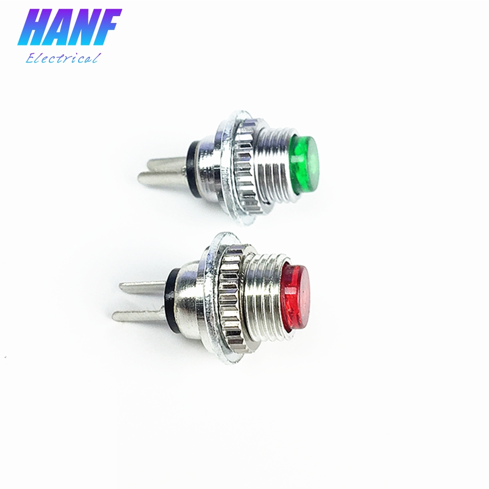 5pcs 8mm 1NO Mini Metal Push Button Switch Momentary High Head 2pins 1A 250V Red Green