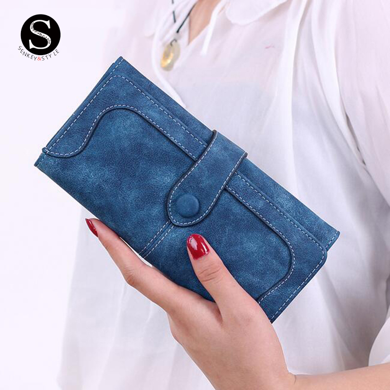 Senkey Style Womens Wallets And Purses 2017 Credit Wallet Women Luxury Brand Clutch Stitching Scrub Leather Money Clip Long Lady