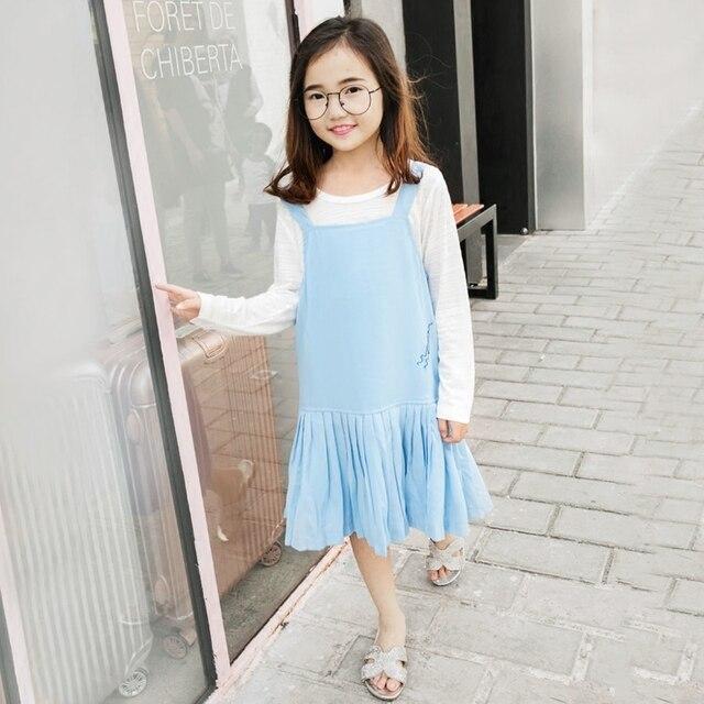 2017 Korea Musim Semi Sky Blue Dress Rompi Tanpa Lengan Panjang
