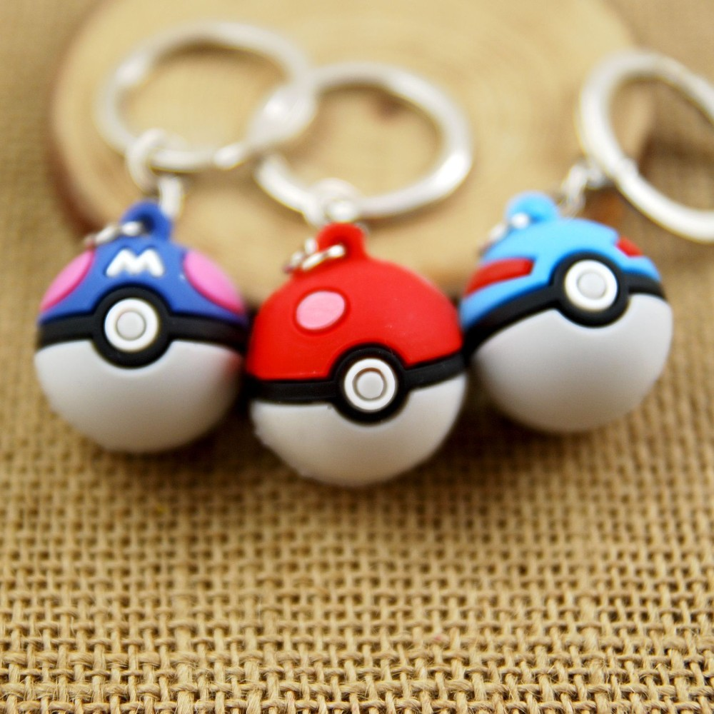 3D Pokeball Keychain Pokemon Go Game Key Chain Key Holder Anime Pocket Monster Keychain Portachiavi Llaveros Hombre Bag Charm
