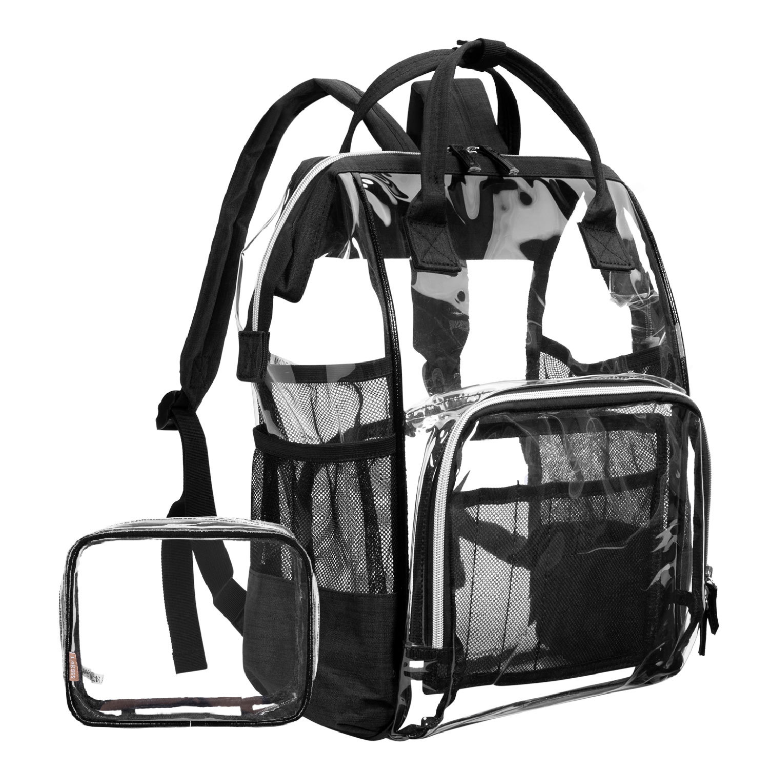 atinfor Large Clear Backpack Transparent Summer Backpacks Fit 15.6 Inch Laptop Travel Rucksack with Makeup Bagatinfor Large Clear Backpack Transparent Summer Backpacks Fit 15.6 Inch Laptop Travel Rucksack with Makeup Bag