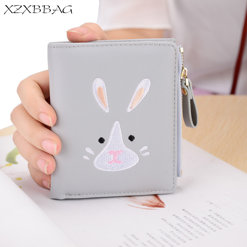 XZXBBAG PU Leather Women Short Wallet Cute Rabbit Cartoon Female Multiple Card Holder Small Purse Students Girl Money Bag XB122