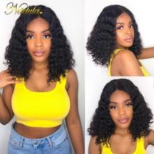 Nadula Peluca de cabello humano con onda de encaje frontal para mujer Peluca de cabello humano corto de 8 14 pulgadas, cabello Remy brasileño