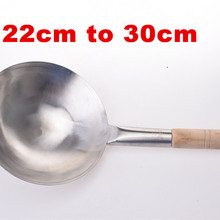 Pot Wok Iron-Pan Gas-Cooker Non-Stick Stainless-Steel Chinese-Style Wooden-Handle Hand-Forging