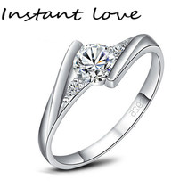 INSTANT LOVE sends a silver certificate! Sterling Silver Ring Set Deluxe 0.5 Carat CZ Diamant Wedding Ring(China)