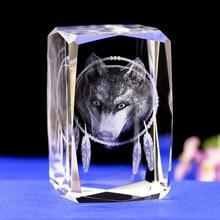 K9 станок кристальной лазерной 3D внутренний Скульптура Интер-гравировка статуя Волчья Голова фигурки и миниатюры творческий подарок ремесла домашнего декора