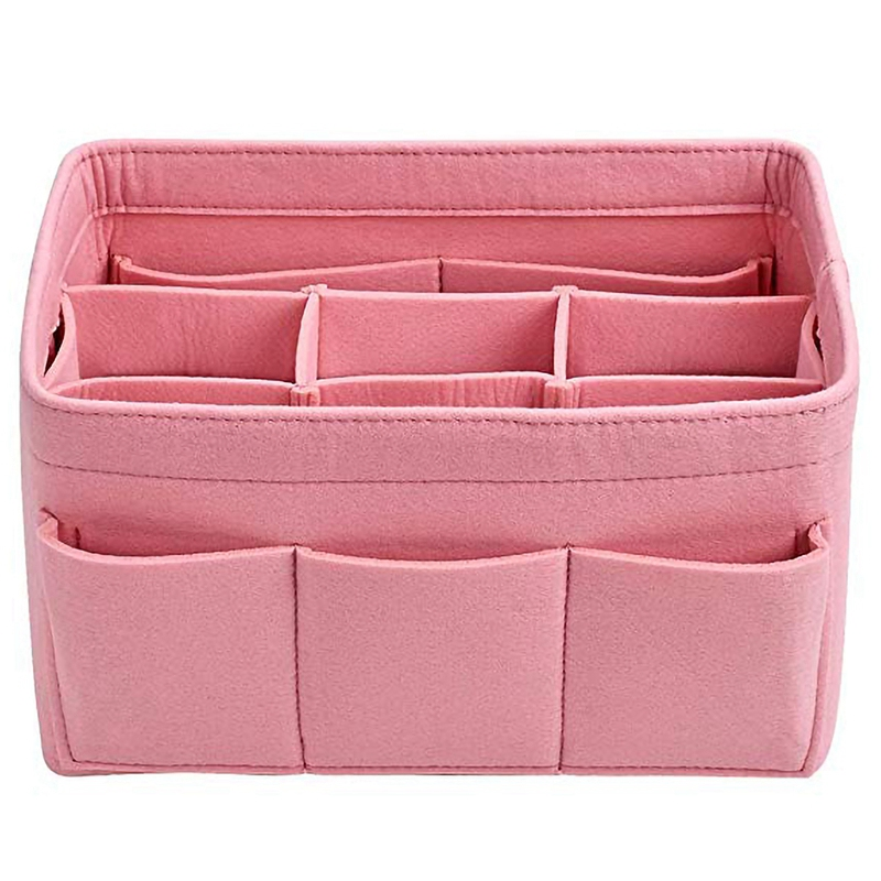 Felt Storage Bag Cosmetics Home Small Items Supplies Organizer Or Folding Storage Box Pink image