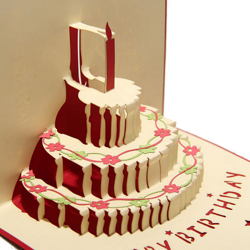 Wholesale Kirigami Anniversary Greeting Card 3D Handcrafted Origami Birthday Cake Candle Design Envelope Invitation In Cards Invitations From Home