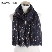 FOXMOTHER New Fashion Autumn Shawl Rose Gold Foil Star Print Scarf Galaxy Scarves Birthday Bridesmaids Gifts Dropshipping
