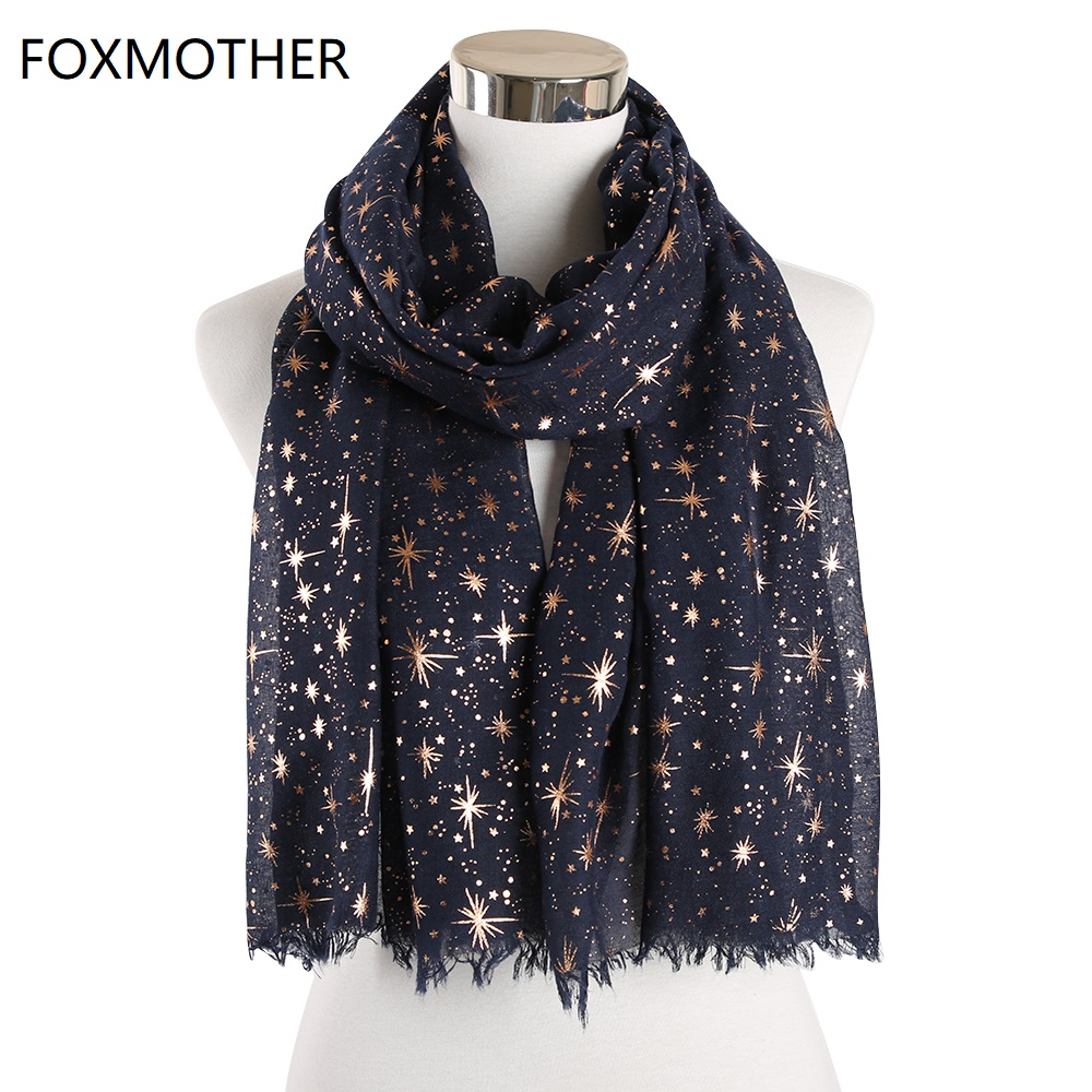 FOXMOTHER New Fashion Autumn Shawl Rose Gold Foil Star Print   Scarf   Galaxy   Scarves   Birthday Bridesmaids Gifts Dropshipping   Scarf