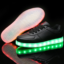 LED Shoes For Adults Men Shoes Casual Led Light Men Casual Luminous Light White Black Lovers Casual Flash USB Charging Shoes