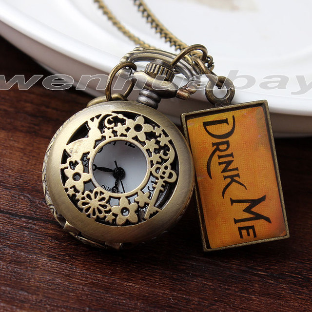 Fashion Cute Small Size White Dial Bronze Rabbit Key Flower Drink Me Women's Lad