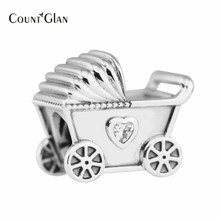 2017 Mothers Day Gifts Baby Pram Charms Bead 925 Sterling-Silver-Jewelry Baby Carriage Heart Family Beads Fit Charms Bracelets