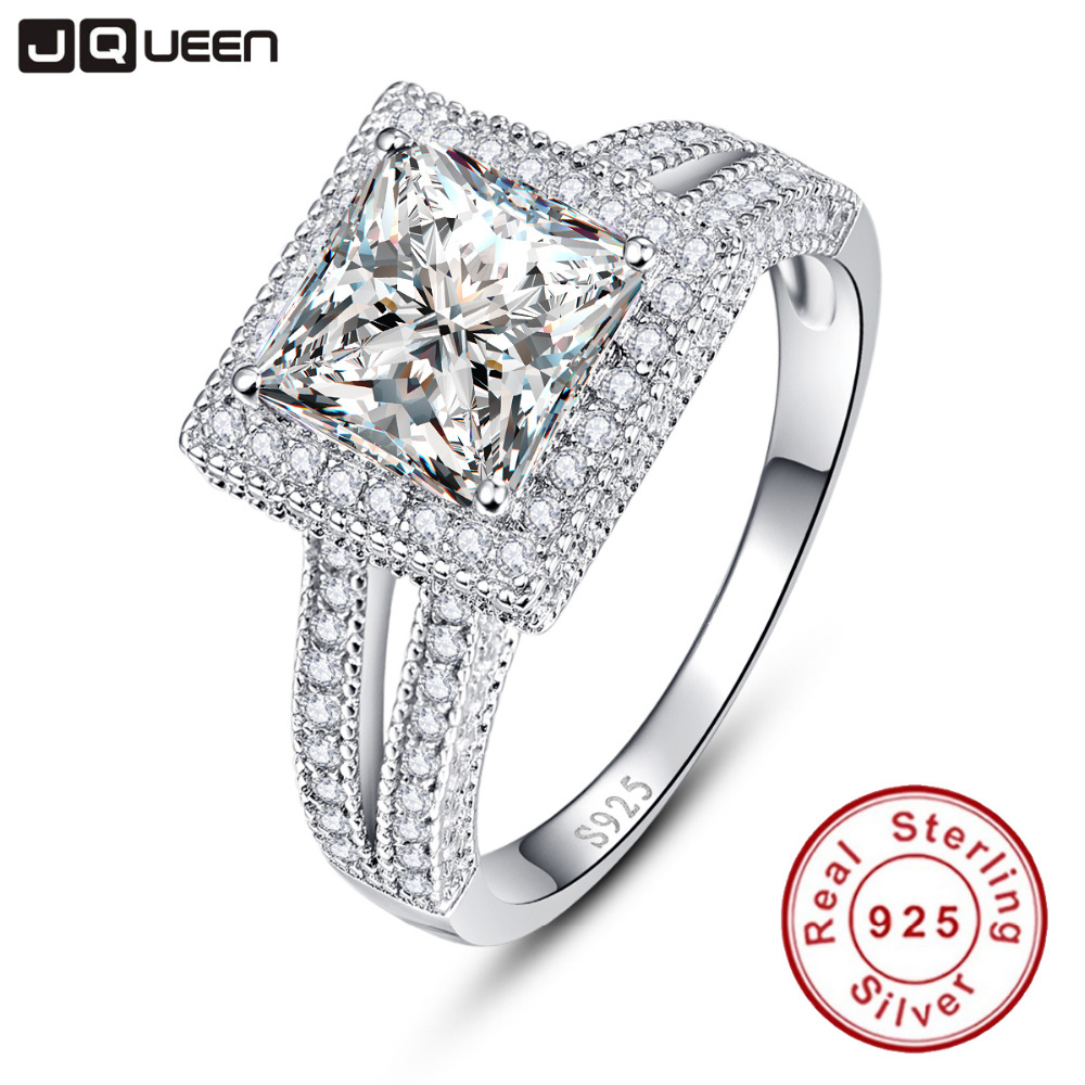2016 New 925 Sterling Silver 225ct Princess Cut Wedding Ring Styles Created Stone Halo Ring