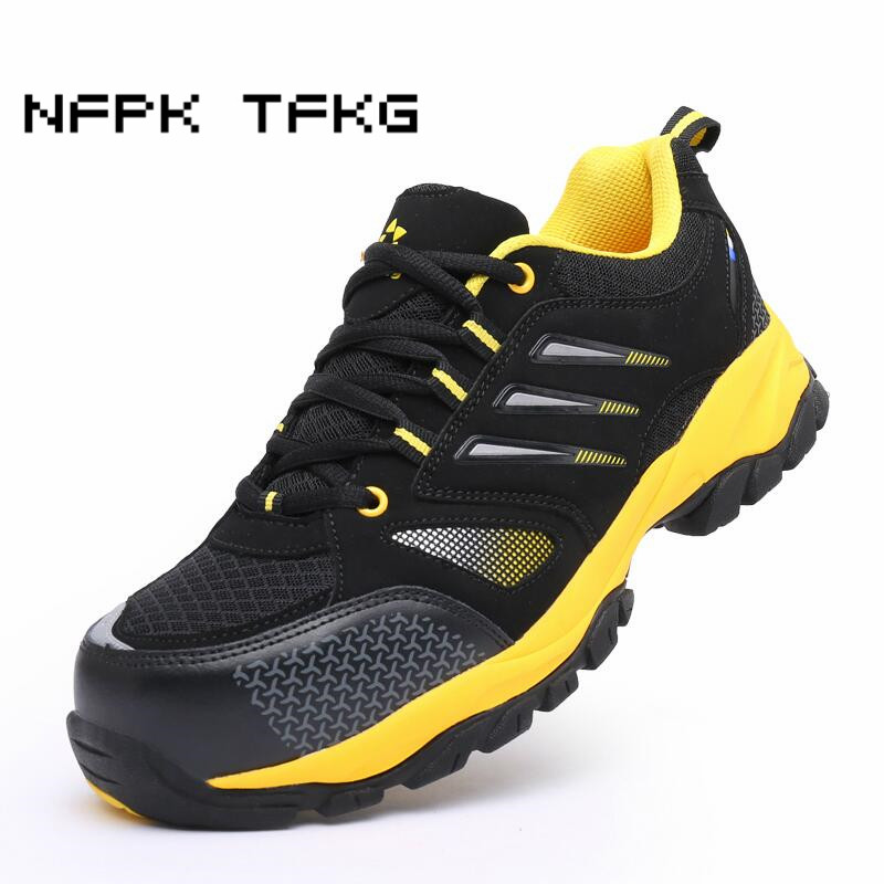 men fashion big size breathable steel toe caps work safety