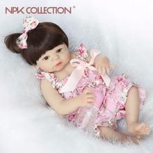 NPKCOLLECTION Lifelike Full Silicone Reborn Baby Menina Alive 23 toddler Baby Bonecas girl kid bebe doll