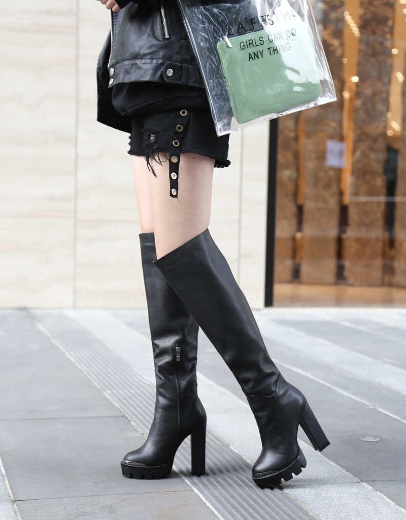 Kış Kadın Lady Ayakkabı Uzun Diz Çizmeler Üzerinde Hakiki Deri Platformu Zip Yuvarlak Ayak Yüksek Kare Topuklu Katı Kısa peluş Solucan