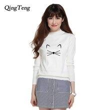Cute Cat Cartoon Print Sweater Women Winter Fashion 2018 Knitted Cashmere Wool Turtleneck Harajuku Top Jumper Korean Style New