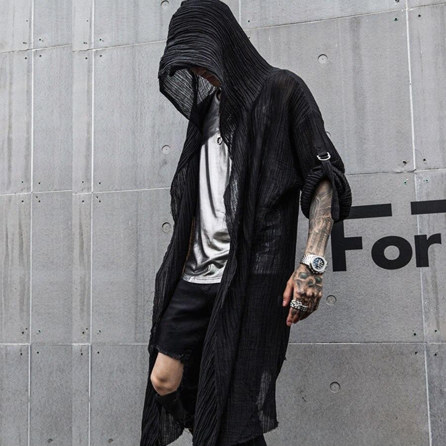 Mens Avant-Garde Asymmetric Unbalance Long sleeve cardigan Shirts coat jacket
