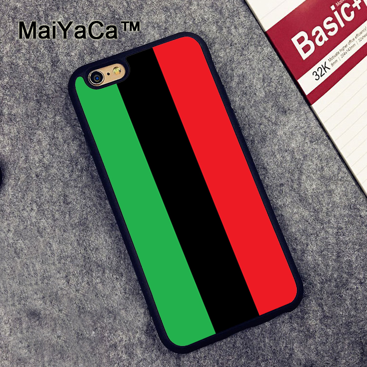 MaiYaCa Pan African Flag Mobile Phone Case For iPhone XS MAX XR 6 6S 7 8 Plus X 5 SE Rubber Soft Cell Housing Cover